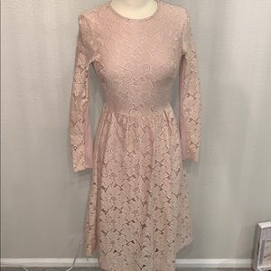 H & M lace blush floral dress sz XS